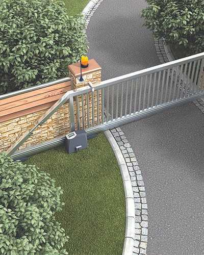 sliding gate operator with silver gate